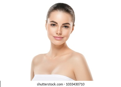 Healthy fresh skin face, beautiful woman close up face with clean skin isolated on white.