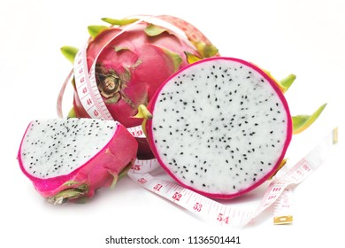 Healthy fruit concept,Dragon fruit on white background.