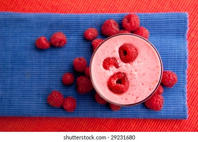 A healthy fruit drink - raspberry smoothie