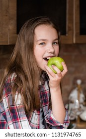 healthy fruit snacks for kids. wholesome diet and natural organic food for children development. girl eating an apple