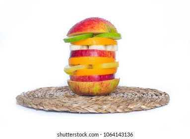 healthy fruits burger / isolated background