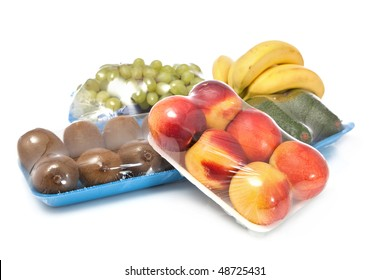 healthy fruits on white in packages