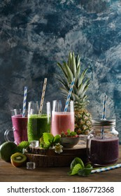 Healthy fruits and vegetables summer beverages in glass