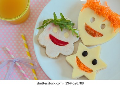 Healthy and fun food for kids, funny faces sandwiches for party