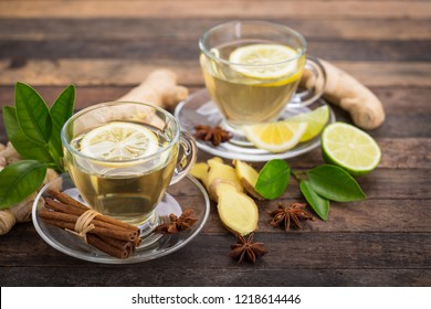 Healthy ginger tea with lemon