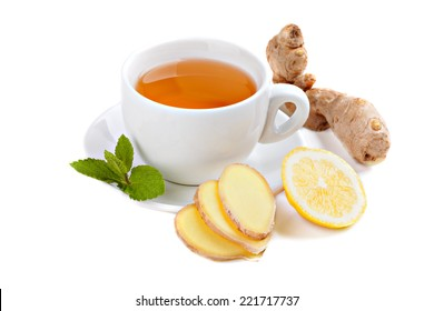 Healthy ginger tea with lemon and mint
