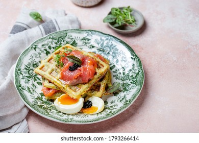 healthy and gluten free zucchini waffles with salmon and egg