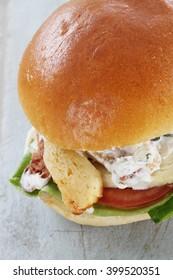 healthy gourmet veggie burger in brioche bun