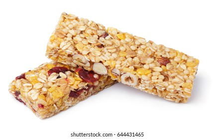 Healthy granola bar (muesli or cereal bar) isolated on white background
