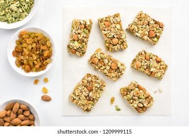 Healthy granola bar. Natural snack. Top view, flat lay