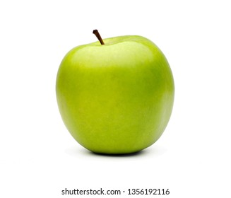 Healthy green apple on white background