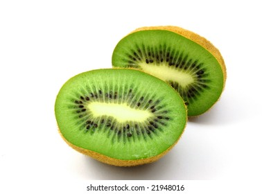 healthy green kiwi fruit isolated on white background