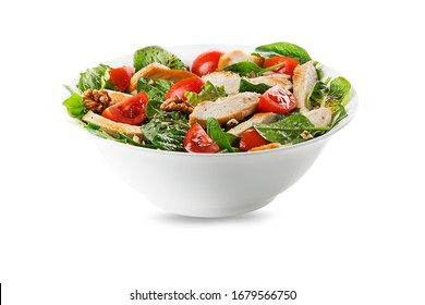 Healthy green salad with chicken breast, tomato and nuts isolated on white