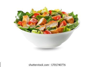 Healthy green salad with crispy fried chicken and tomato isolated on white