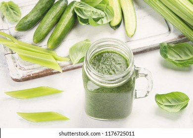 Healthy green smoothie. Detox diet concept