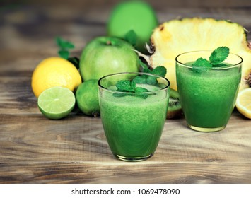 Healthy green smoothie, refreshing and healthy drink - green smoothie made with fresh organic fruit