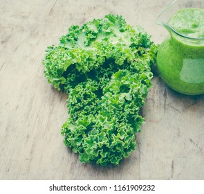 Healthy green smoothue with kale/toned photo