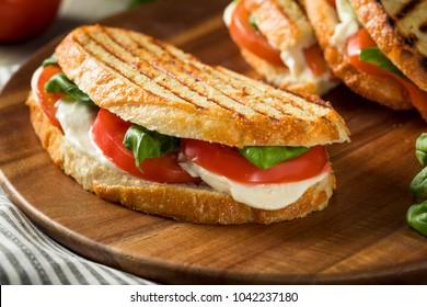 Healthy Grilled Basil Mozzarella Caprese Panini Sandwich