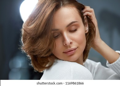 Healthy Hair. Beautiful Woman With Short Brown Hair
