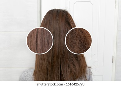 Healthy hair care keratin. Before and after treatment. Selective focus