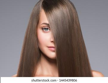 Healthy hair woman beautiful hairstyle beauty makeup closeup face