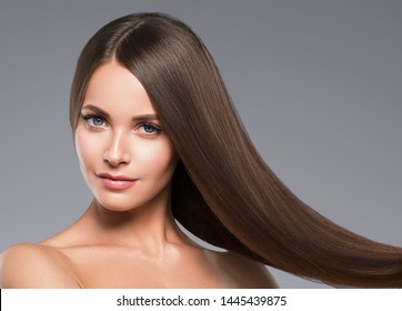 Healthy hair woman beautiful hairstyle beauty makeup closeup face