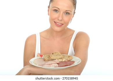 Healthy Happy Attractive Young Woman Holding a Scandinavian Style Cold Meat Breakfast