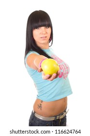 Healthy happy young woman with apple - for diet and weight loss concept