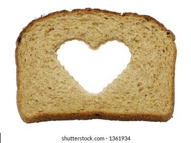 A healthy heart themed slice of whole wheat bread isolated on a white background.