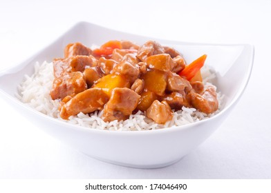 healthy home made sweet and sour pork on white rice