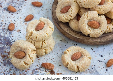 Healthy homemade almond cookies without butter and flour, horizontal