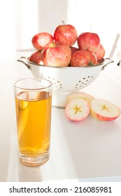 healthy homemade apple juice in a glass