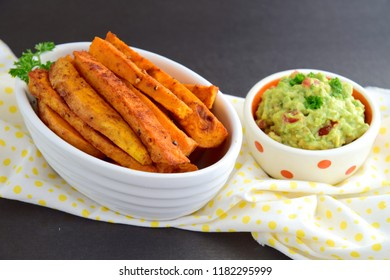 Healthy Homemade Baked Sweet Potato Fries with Guacamole
