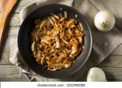 Healthy Homemade Caramelized Onions in a Pan