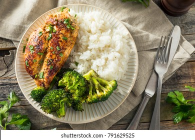 Healthy Homemade Chicken Breast and Rice with Broccoli