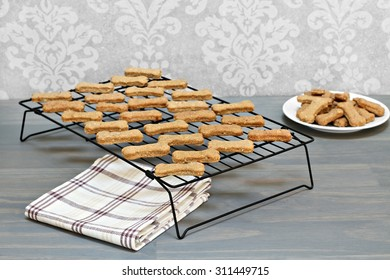Healthy, homemade dog cookies cooling on a wire rack.  Selective focus on foreground cookies with copy space.