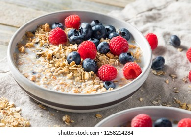 Healthy Homemade Muesli Breakfast Cereal with Milk and Berries