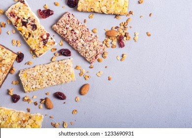 Healthy homemade snacks breakfast . Granola bars . Food vegan energy background