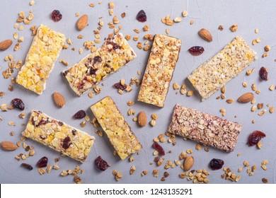 Healthy homemade snacks breakfast . Granola bars . Food vegan energy background