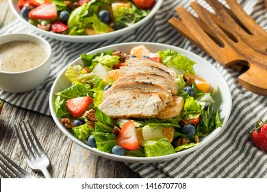 Healthy Homemade Strawberry Poppyseed Salad with Chicken