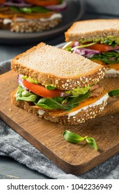 Healthy Homemade Vegetarian Veggie Sandwich with Sweet Potatoes Lettuce Tomato Cheese