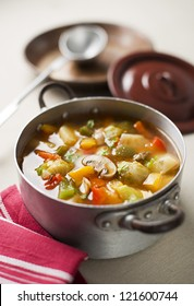 Healthy hot vegetable stew close up shoot