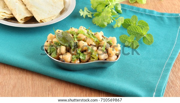 Healthy Indian Food Chickpea Curry Side Stock Photo Edit