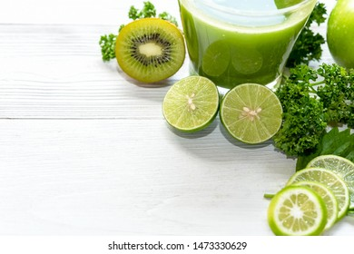Healthy Juice. Green smoothie, Organic and Fresh green vegetable for detox and vegan, diet and weight loss on the white background, top view and copy space. Healthy Concept