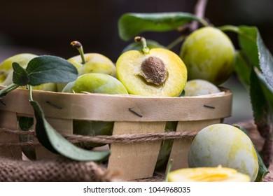 Healthy juicy ripe organic plums on wooden table.  Sweet fruit dessert