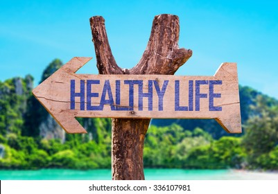 Healthy Life arrow with beach background