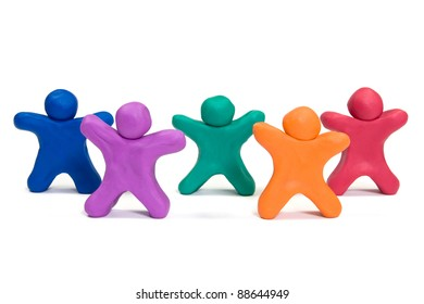 healthy life concept. color plasticine people doing exercise