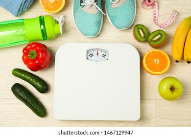 Healthy lifestyle accessories on white background, top view