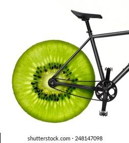 Healthy lifestyle concept - bike with kiwi wheel
