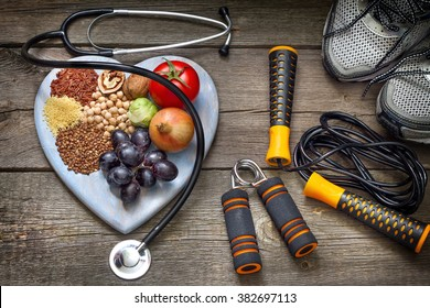 Healthy lifestyle concept with diet and fitness - Shutterstock ID 382697113